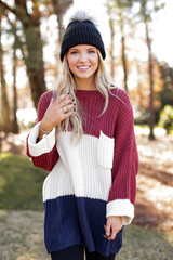 Oversized Color Block Sweater in Navy Front View