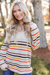 Taupe - Oversized Striped Sweater from Dress Up