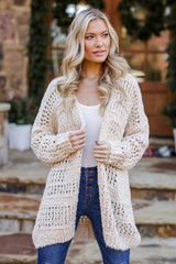 Ivory - Brushed Loose Knit Cardigan from Dress Up