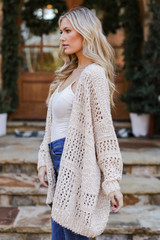 Brushed Loose Knit Cardigan Side View