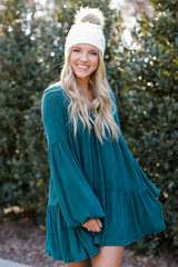 Hunter Green - Brushed Knit Babydoll Dress from Dress Up