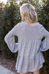 Brushed Knit Babydoll Dress in Heather Grey Back View