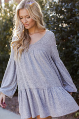 Brushed Knit Babydoll Dress in Heather Grey Front View