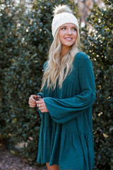 Brushed Knit Babydoll Dress in Hunter Green Side View