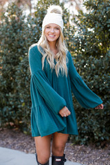 Brushed Knit Babydoll Dress in Hunter Green Front View