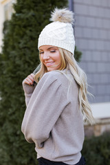 Puff Sleeve Sweater in Mocha Side View
