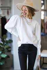 Ivory - Puff Sleeve Sweater Front View