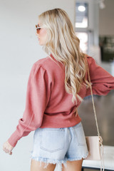 Puff Sleeve Sweater in Rust Back View