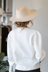 Puff Sleeve Sweater in Ivory Back View