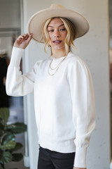 Puff Sleeve Sweater in Ivory Side View