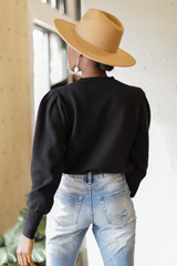 Puff Sleeve Sweater in Black Back View