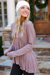 Ribbed Knit Babydoll Top in Mocha Side View