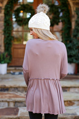 Ribbed Knit Babydoll Top in Mocha Back View