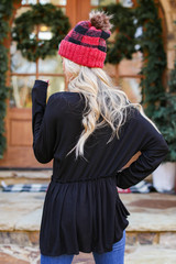Ribbed Knit Babydoll Top in Black Back View