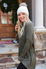 Ribbed Knit Babydoll Top in Olive Side View