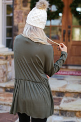 Ribbed Knit Babydoll Top in Olive Back View