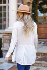 Ribbed Knit Babydoll Top in White Back View
