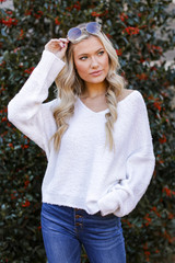 Ivory - Model wearing a Fuzzy Knit Sweater
