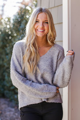Heather Grey - Fuzzy Knit Sweater Front View