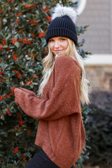Fuzzy Knit Sweater in Camel Side View