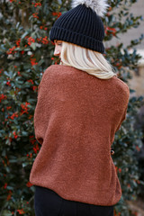 Fuzzy Knit Sweater in Camel Back View