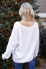 Fuzzy Knit Sweater in Ivory Back View