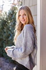 Fuzzy Knit Sweater in Heather Grey Side View