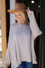 Taupe - Oversized Glitter Knit Top