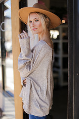 Oversized Glitter Knit Top in Taupe Side View