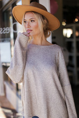 Taupe - Oversized Glitter Knit Top Front View