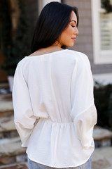 Surplice Peplum Blouse in Ivory Back View