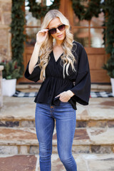 Surplice Peplum Blouse in Black Back View