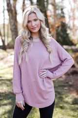 Blush - Model wearing a Soft Knit Sweater with black jeans