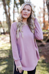 Blush - Dress Up model wearing a Soft Knit Sweater with black jeans