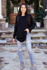 Black - Dress Up model wearing a Soft Knit Sweater with jeans