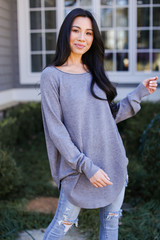 Heather Grey - Dress Up model wearing a Soft Knit Sweater from Dress Up with leggings