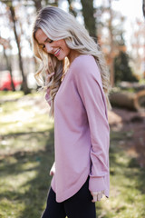Soft Knit Sweater in Blush Side View
