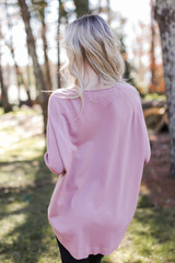 Soft Knit Sweater in Blush Back View