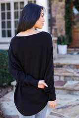 Soft Knit Sweater in Black Back View