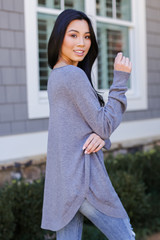 Soft Knit Sweater in Heather Grey Side View