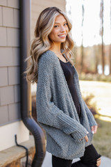 Popcorn Knit Cardigan in Olive Side View