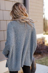Popcorn Knit Cardigan in Olive Back View