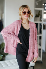 Mauve - Model wearing a Popcorn Knit Cardigan Front View