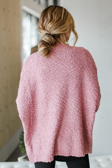 Popcorn Knit Cardigan in Mauve Back View