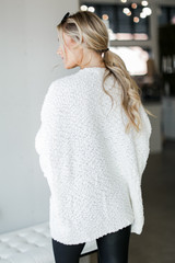 Popcorn Knit Cardigan in Ivory Back View
