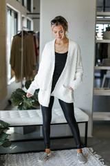Popcorn Knit Cardigan in Ivory Front View