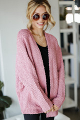 Popcorn Knit Cardigan in Mauve Front View