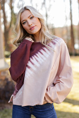 Taupe - Oversized Tie-Dye Pullover from Dress Up