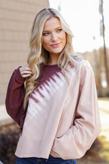 Taupe - Oversized Tie-Dye Pullover