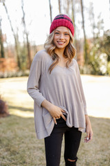Taupe - Oversized Waffle Knit Top from Dress Up